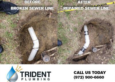 repairing broken sewer line