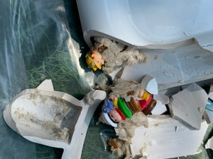 Toys shown in toilet causing failure