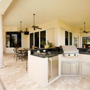 Photo of covered patio outdoor grill and kitchen